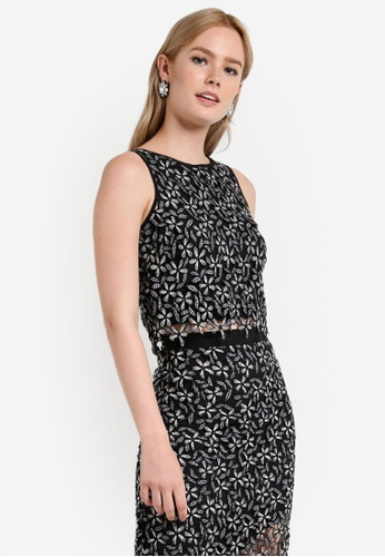 Miss Selfridge multi Monochrome Lace Crop Top MI665AA77DESMY_1