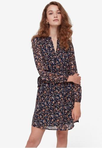 OVS blue Pattern Semi-Sheer Dress A0A80AA2207CD6GS_1