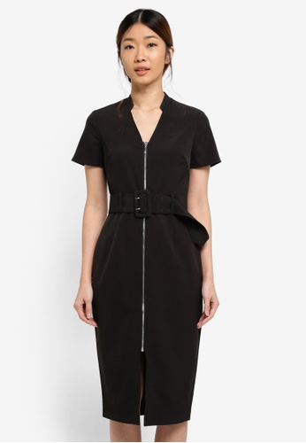 Dorothy Perkins black Black Zip Belt Shirt Dress 5BFC9AA49E84B6GS_1