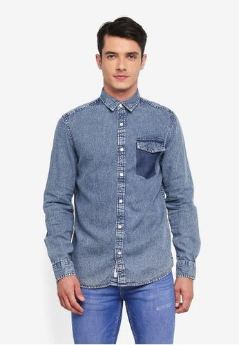 Only & Sons 藍色 休閒牛仔襯衫 2F3AFAAB378207GS_1