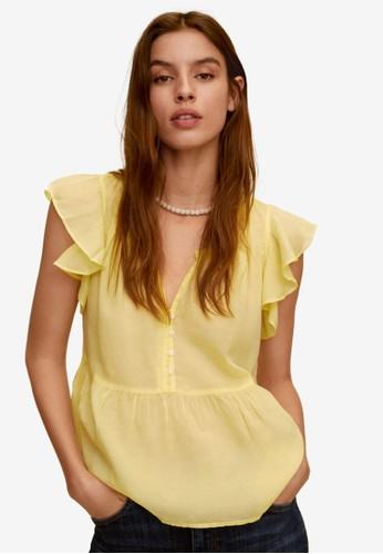 Mango yellow Ruffled Sleeves Blouse 11B97AAFECDEA6GS_1