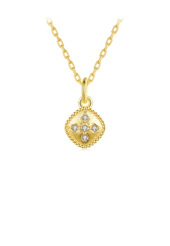 Glamorousky white 925 Sterling Silver Plated Gold Fashion Simple Geometric Diamond Pendant with Cubic Zirconia and Necklace 2A6E0AC1E188D8GS_1