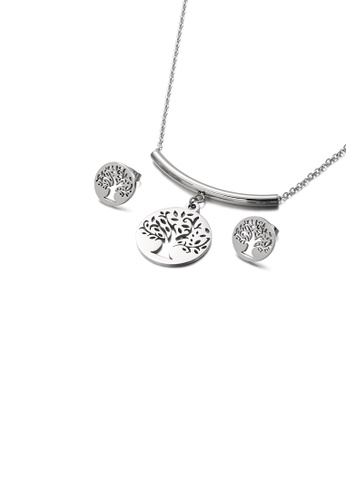 Glamorousky silver Fashion Simple Hollow Tree Geometric Round 316L Stainless Steel Necklace and Stud Earring Set 829C9AC07AC192GS_1
