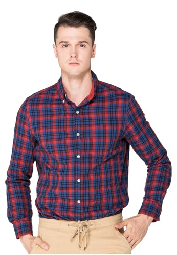 Chaps red and blue Chaps Plaid Cotton Sport Shirt CH325AA0S818MY_1