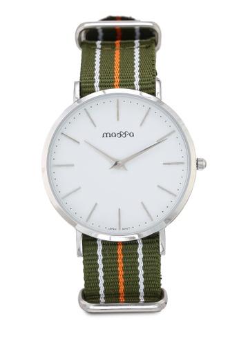 Massa Collections multi Grace Female White Silver w/ Army Green Nato Quartz Watch C2964AC6D0682CGS_1