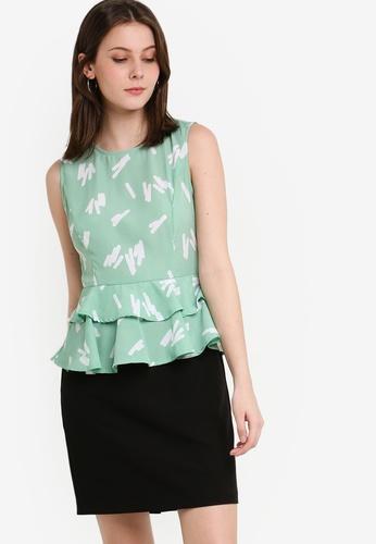 ZALORA 白色 and 綠色 印花層次洋裝 D09C4AA5576CE9GS_1