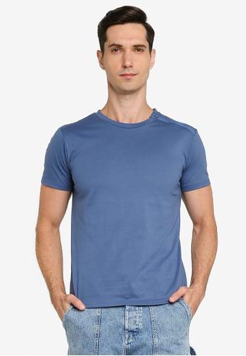 ZALORA BASICS blue Zipper Detail T-shirt 98A1AAA28E6854GS_1