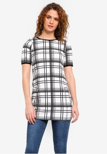 Dorothy Perkins white White Checkered Tunic Top DO816AA0RMYJMY_1