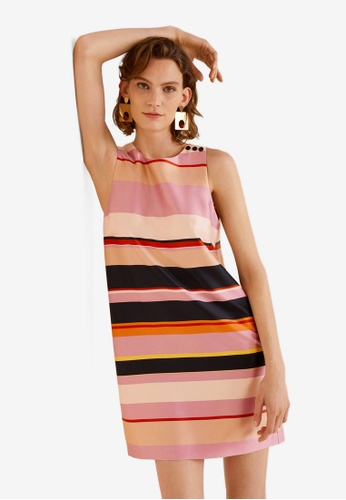 Mango pink Striped Satin Dress D327DAAB9103CEGS_1