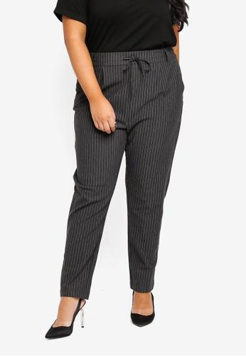 Only CARMAKOMA grey Plus Size Curvy Pinstripe Pants CA01FAAE80343FGS_1