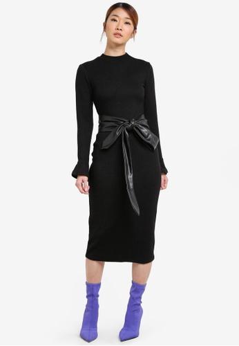 Something Borrowed black Ruffled Sleeve Bodycon Dress E9776AAA95A721GS_1