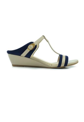 SHINE blue and beige T Strap Open Toe Wedge BA152SH419ED42GS_1