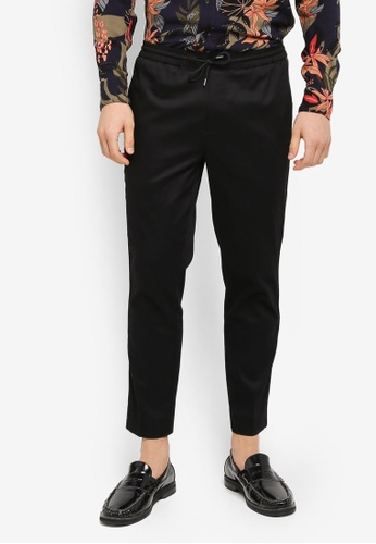 Topman black Black And Silver Taped Smart Joggers TO413AA0T1ILMY_1