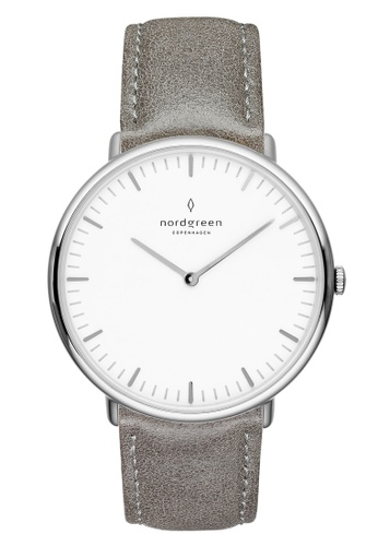 Nordgreen grey and silver Nordgreen Native Silver 40 mm - Grey Leather Watch A0DC6ACFC7B2CAGS_1