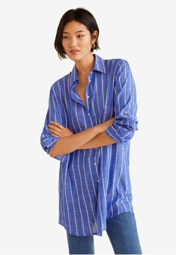 c61aa281dd Buy Mango Oversize Striped Shirt   ZALORA HK