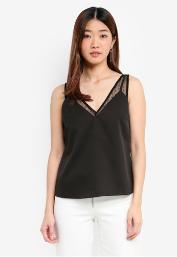 Something Borrowed black Sheer Dottted Layered Top A86A4AA560150BGS_1
