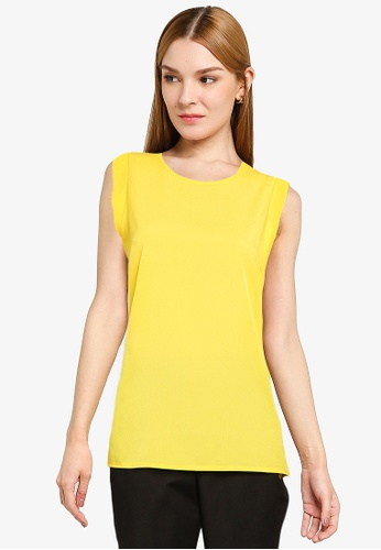 French Connection yellow Crepe Light Capped Sleeve Top EDE6CAA84810F0GS_1