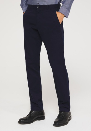 SISLEY 海軍藍色 素色基本款長褲 17DD4AA879991FGS_1
