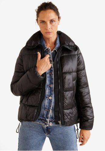 Mango black Quilted Water-Repellent Jacket D5813AAB6832ACGS_1
