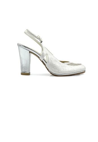 SHINE white Round Toe Lace Mary Jane Pumps 1CE89SHD9F8692GS_1