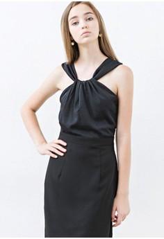 [aLADY] Sleeveless Twist Collar Design Dress