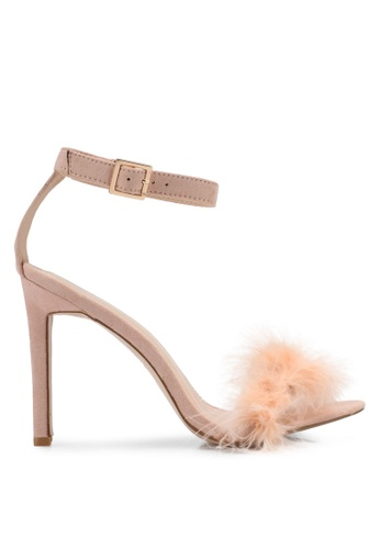 Public Desire pink Chemistry Faux Feather Detail Barely There Heels PU378SH0SIPGMY_1