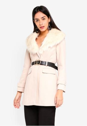 f568282ddc5 Buy Miss Selfridge Petite Fur Trim Fit Flare Coat Online on ZALORA Singapore