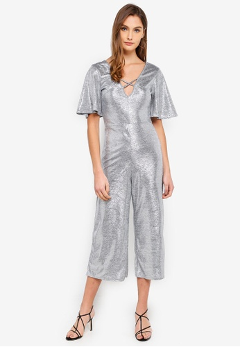 Miss Selfridge 銀色 Silver Angel Sleeve Culotte Jumpsuit 407F9AA255D597GS_1