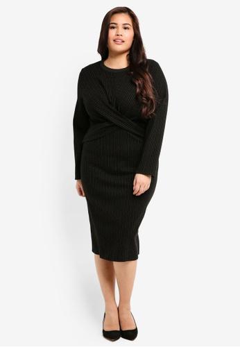 ELVI black Plus Size The Pave Twist Front Bodycon Mini Dress F0DC6AADB4721EGS_1