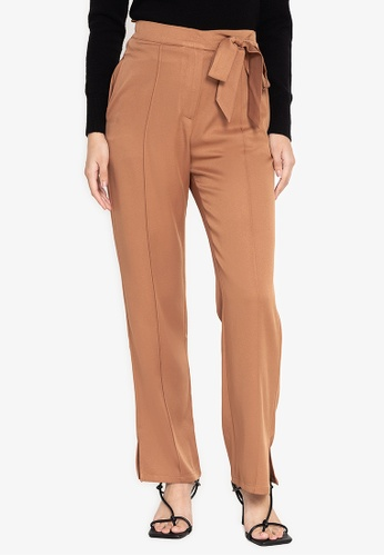 ZALORA WORK brown Side Tie Straight Leg Pants B3088AA32ECFA4GS_1