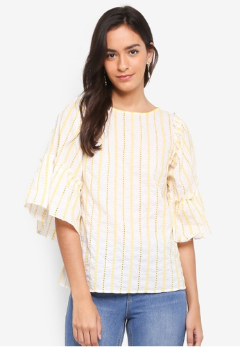 Dorothy Perkins yellow Yellow Broderie Stripe Top CA6B3AAF3378C3GS_1