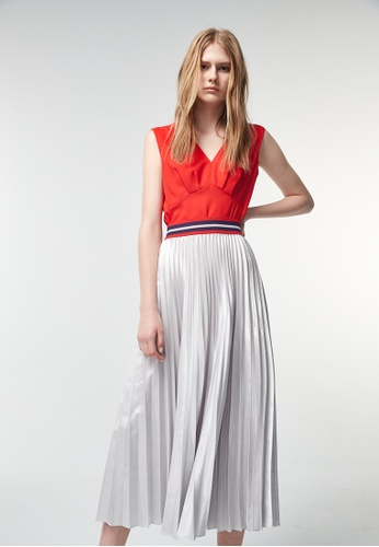 iROO silver Metallic Long Skirt A464EAA3AE03F0GS_1