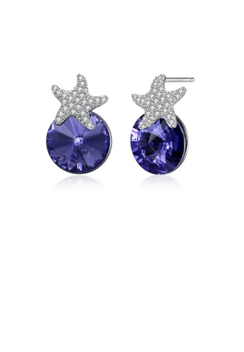 Glamorousky white 925 Sterling Silver Fashion Star Blue Austrian Element Crystal Stud Earrings A6BC5AC31372A5GS_1