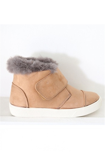 Crystal Korea Fashion beige Korean Made Suede Leather  Warm Boots CR681SH2WDWPHK_1