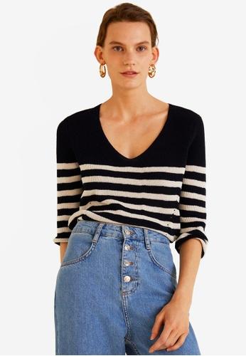 Mango navy Knit Striped Sweater 38F40AAD2C5268GS_1