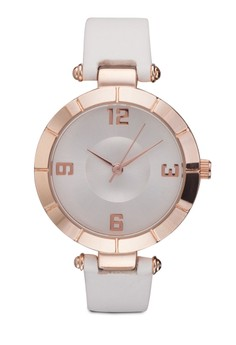 T-Bar Round Face Plain Strap Watch