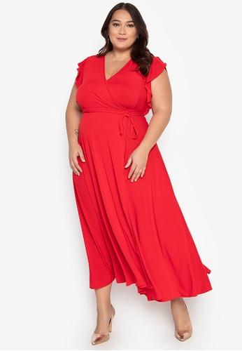 e057a5ed67e Plus Size Surplice Neckline High Slit Maxi Dress