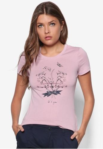 花卉zalora時尚購物網的koumi koumi蝴蝶棉TEE, 服飾, T恤