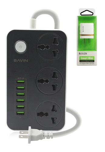 BAVIN white 6 USB Port 3-Power Socket Charger with Adapter Charger 8C8C1AC5CDF28AGS_1