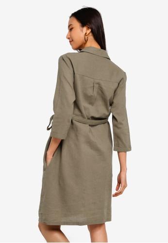 ce0876cfac6 Buy Dorothy Perkins Maternity Khaki Linen Shirt Dress Online on ZALORA  Singapore