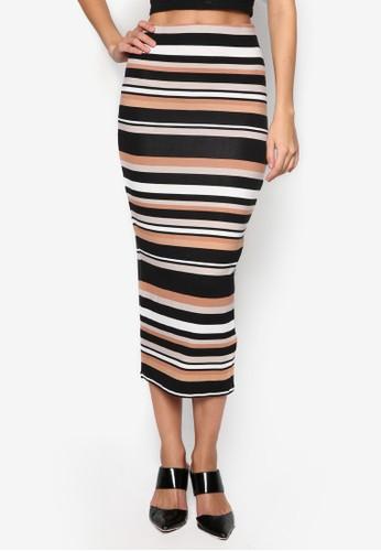 多色條zalora 折扣碼紋鉛筆裙, 服飾, 及膝裙