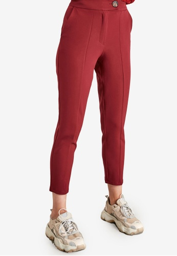 Trendyol red Button Detail Straight Cut Trousers 4F0DFAA6B7631EGS_1