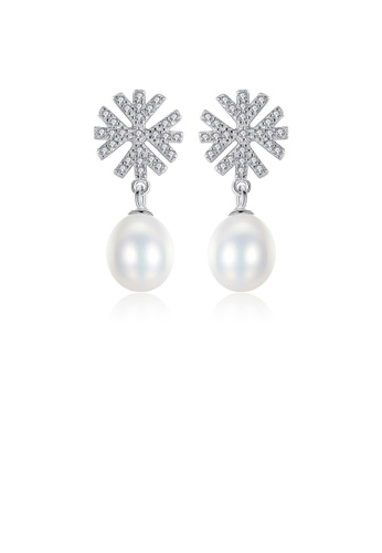 Glamorousky white 925 Sterling Silver Fashion and Elegant Snowflake White Freshwater Pearl Earrings with Cubic Zirconia DD372AC7F38FD8GS_1
