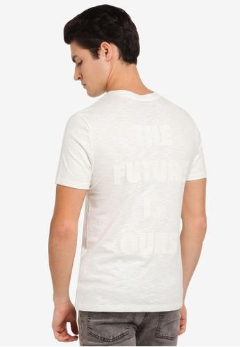 Topman white White Slub Print T-Shirt TO413AA0T1NEMY_1