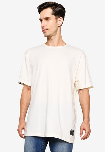 UniqTee white Plain Oversized Tee with Side Label 9A78FAA0209E9AGS_1