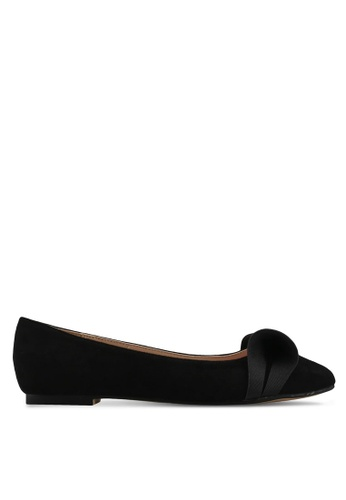 Velvet black Bow Detail Ballerina BE4CBSH7C0A170GS_1
