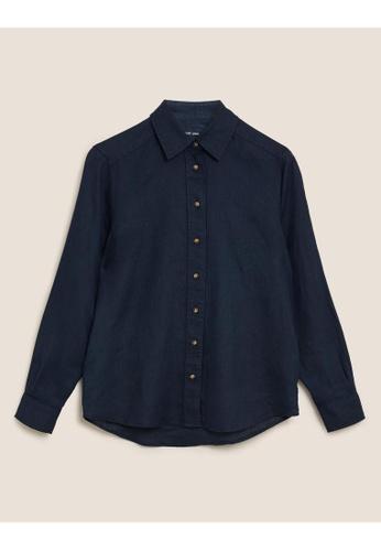 MARKS & SPENCER blue M&S Pure Linen Long Sleeve Shirt C7E17AAB4EE609GS_1