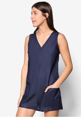 Collection 繫帶V 領連身裙、 服飾、 連身褲ZALORACollection繫帶V領連身裙最新折價