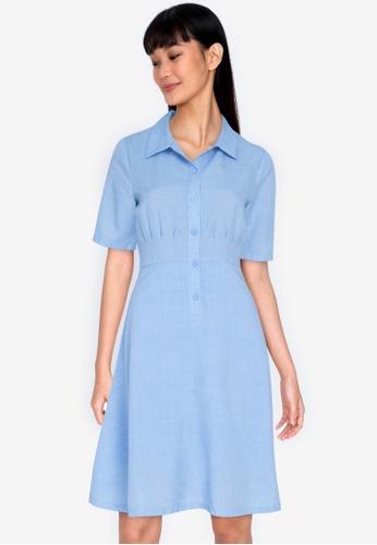 ZALORA BASICS blue Pleated Detail Dress AC869AAF8B3BF7GS_1