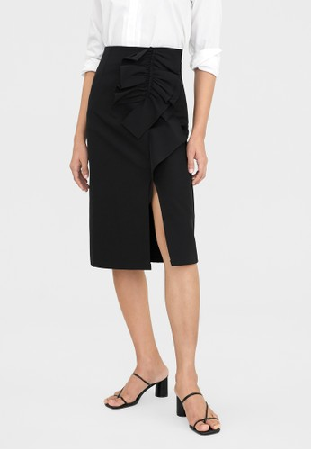 Pomelo black Front Slit Bow Detailed Skirt - Black 3CFFFAAAA26F8AGS_1